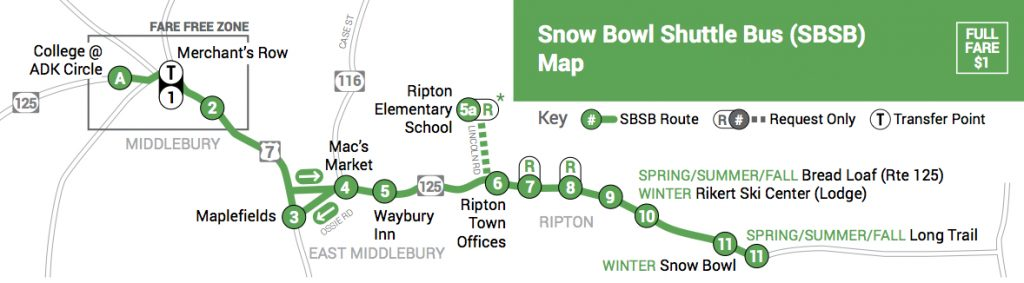 ACTR Snow Bowl Shuttle Map