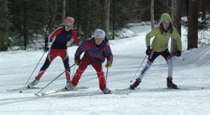 3 kids skate skiing