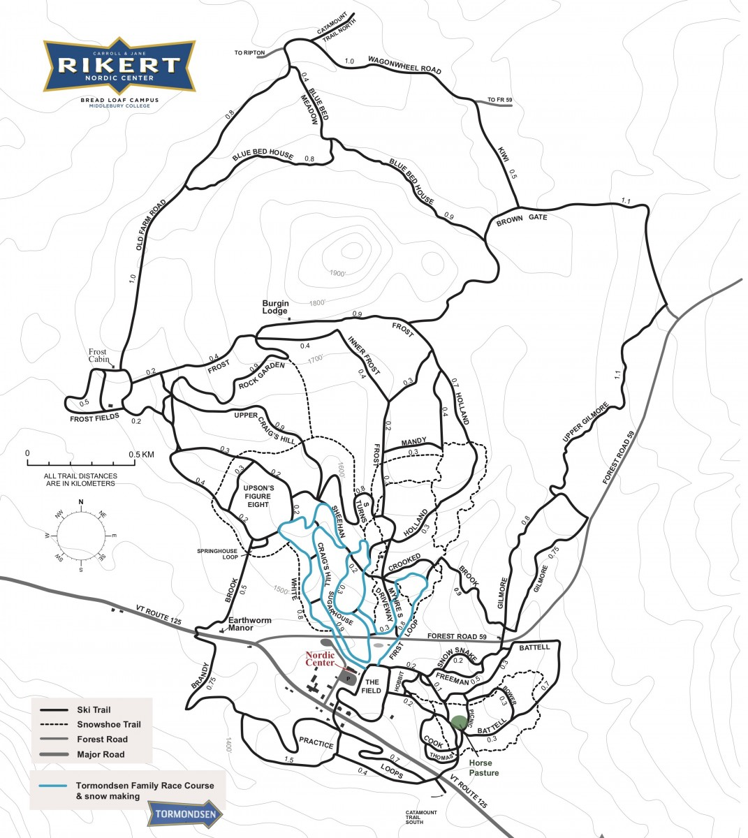 Rikert Nordic Center Trail Map